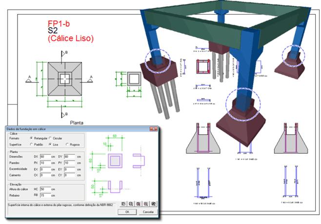 Dimensionamento, detalhamento e desenho de cálices em fundações pré-moldadas
